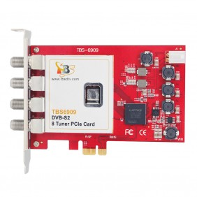 TBS6909 DVB-S2 Satellite 8 TV Tuner OCTA PCIe Card,receiving SD/HD digital TV channels